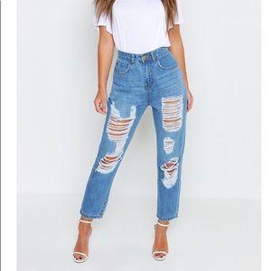 Boohoo petite ripped boyfriend jeans